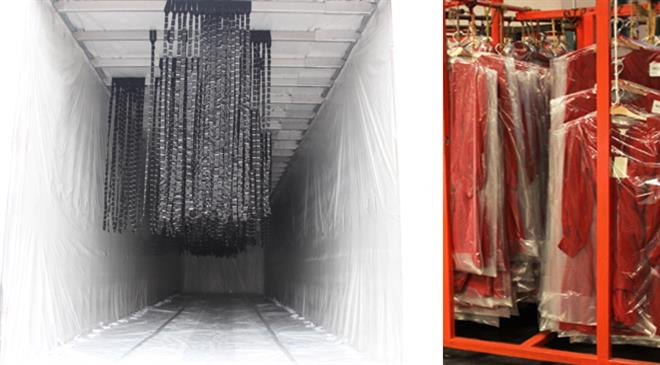 How many racks can a container fit? How many garments in each rack are hung?