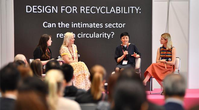 How are concepts like sustainability and blockchain placed at the show? What percentage of innerwear at the show is sustainable?