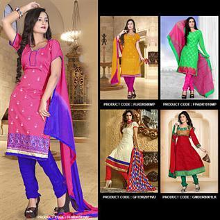 Chanderi Silk, Top  : 1.90 M, Bottom : 1.90 M, Dupatta : 2.10 M - Un - Stiched