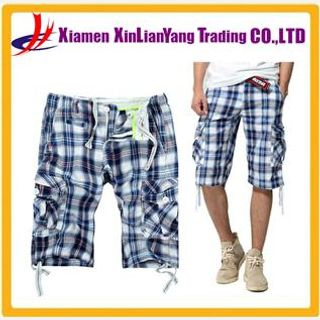 fashion summer plaid short pants , man cargo shorts