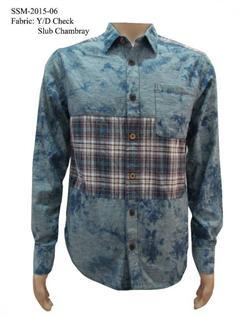Yarn Dyed Checks, Chambray, S-XXL