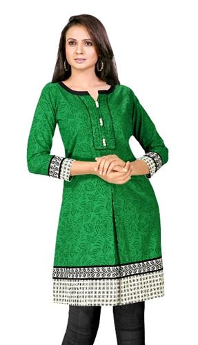 green cotton women kurti