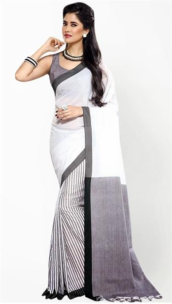 white printed saree