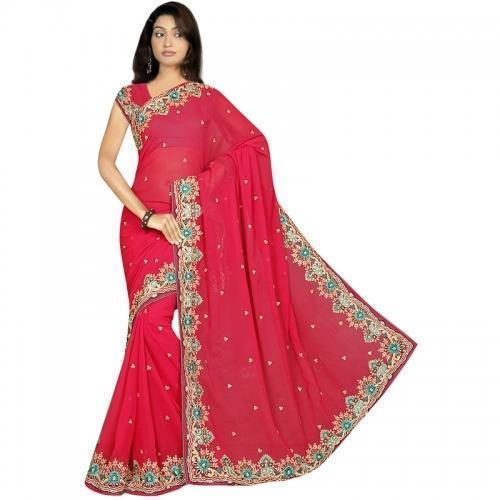 Ladies Bridal Embroidery Saree