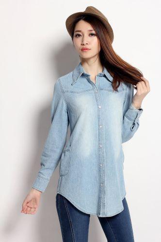 Fancy Denim Shirt For Womens