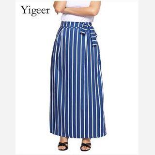 Elastic Tie Vertical Stripe Skirt