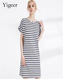 Parallel Stripe Slimming Dress
