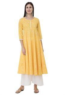 Yellow Skint Printed Anarkali Kurtis