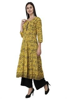 Yellow Skin Printed Anarkali Kurtis