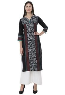 Ladies Black Printed A line Kurtis