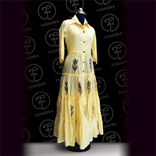 Cotton Dress with Patch Work