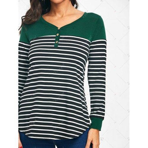 Ladies Long Sleeve V-Neck Stripes T-Shirt