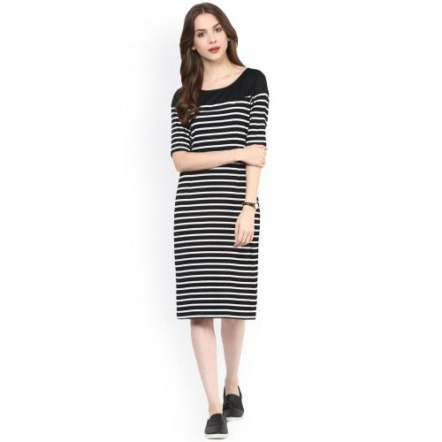Women's Black and White Striped Dresses