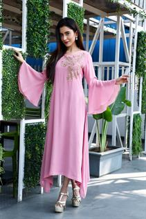 Ruffle Sleeves Full Length Dress