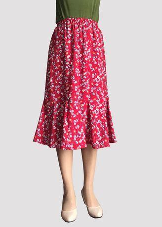 Print Flowers Red Midi Skirts