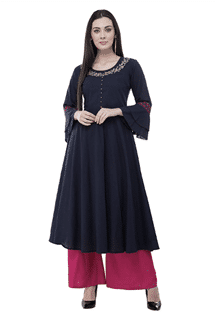 Stitched Embroidered Blue Cotton Anarkali Kurtis
