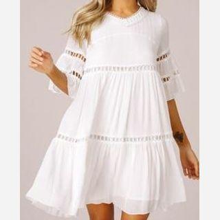 Short White Cotton Dress