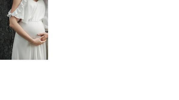 Draped Cold-Shoulder Maternity Dress