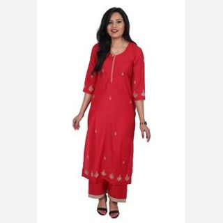 Golden Dori Work Kurtis