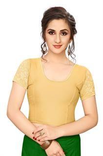 Golden Shimmer Half-Net Sleeve Blouse
