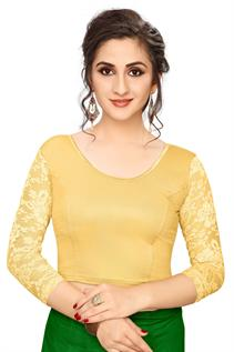 Golden Shimmer Half-Net Blouse