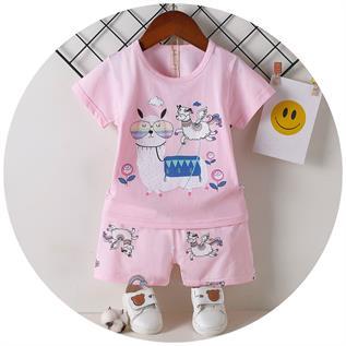 Ice Cooling Cotton & Lycra Kid's Short Sleeve Pajamas