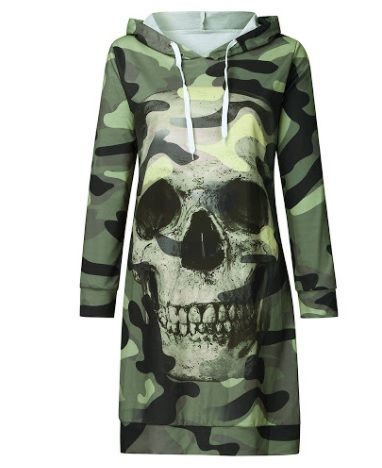 Camouflage Skull Hooded Top