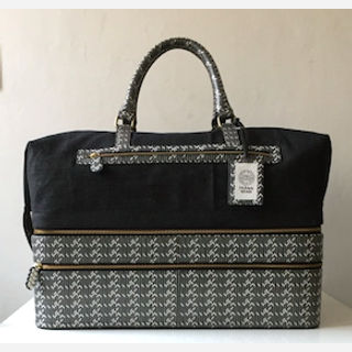 Printed Leather Luggage Bag