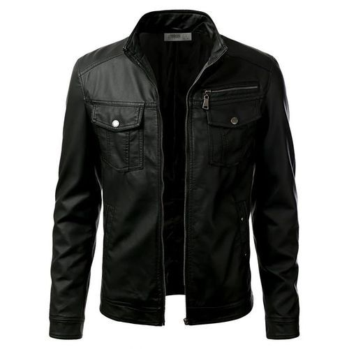 Black Collared Leather Jacket