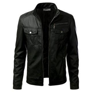 Black Collared Leather Jacket