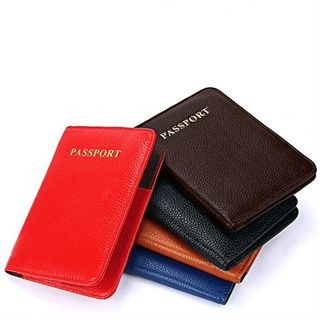Leather Black Coloured Passport Holder