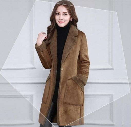 Women Brown Suede Coat
