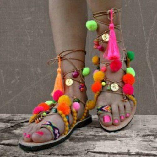 Colorful Pompom Sandal
