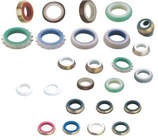 Replacement rings for weaving looms and temples.