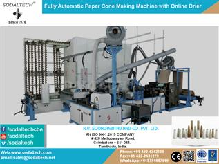 Fully Automatic Paper Cone Making Machine with Online Drier Manufacturers Exporters and