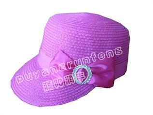 paper straw hat , pink