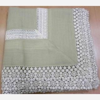 100% Wool + Cotton lace embroidery, Rich Cream