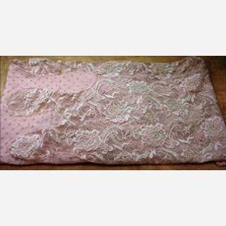 Viscose + Nylon Lace Embroidery, Peach Cloud