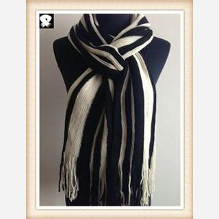 Black and white knitted scarf for the winter season