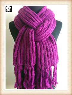 Purple knitted scarves
