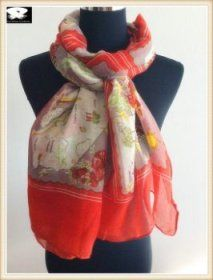Ladies scarves, super soft handle feel, polyester scarf with your custom designs