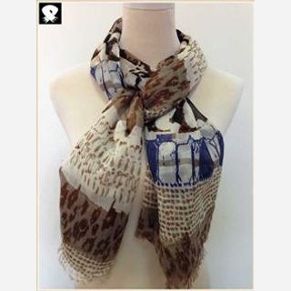 Scarves for women, leopard scarf with your custom colors in our china scarf factory