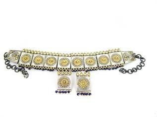 Two Tone Oxidized Choker Necklaces Set