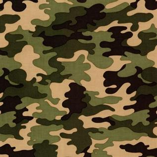225 gsm, 65% Cotton / 35% Polyester Camouflage, Dyed, Twill