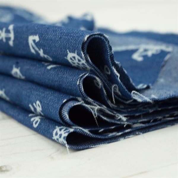 Frayed Dark Blue Denim Fabric