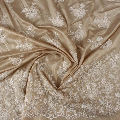 Hand Woven Embroidered Silk Fabric
