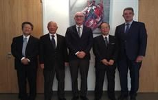 Euratex president Klaus Huneke (centre) flanked by JTF president Masanao Kambara (2nd right) and others; Courtesy: Euratex/JTF