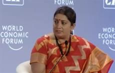 Indian textiles minister Smriti Irani during a discussion at the India Economic Summit. Courtesy: World Economic Forum