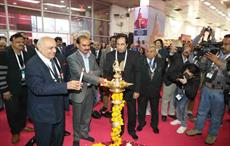 Minister of state for textiles Ajay Tamta and AEPC chairman HKL Magu (left) lighting the lamp at the inaugural of IIGF; Courtesy: AEPC
