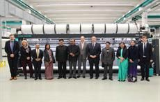 Ajay Tamta, Anant Kumar Singh with their accompanying delegation, Dr Helmut Preßl and Karl Mayer employees; Courtesy: Karl Mayer
